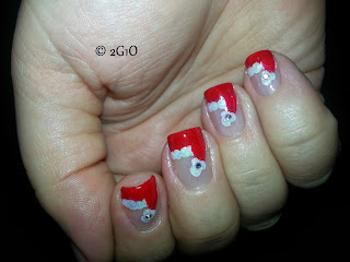 christmas santa hats hat nail art mani