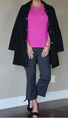 Fall outfit idea, business casual outfit idea, pop of pink, look for less
