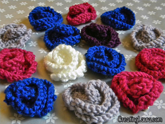 Easy Knitted Flowers Free Patterns : Creating Laura: Little Knitted Flowers