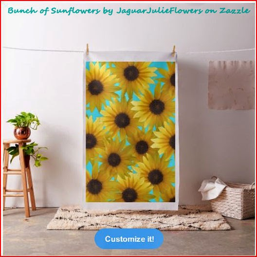 Bunch of Sunflowers Combed Cotton Teal Fabric by JaguarJulieFlowers