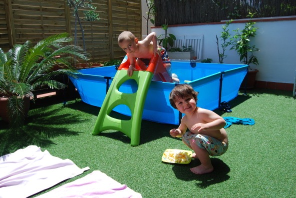 Morgan's Milieu | Home Exchange Membership Giveaway: Photo of two children in a paddling pool
