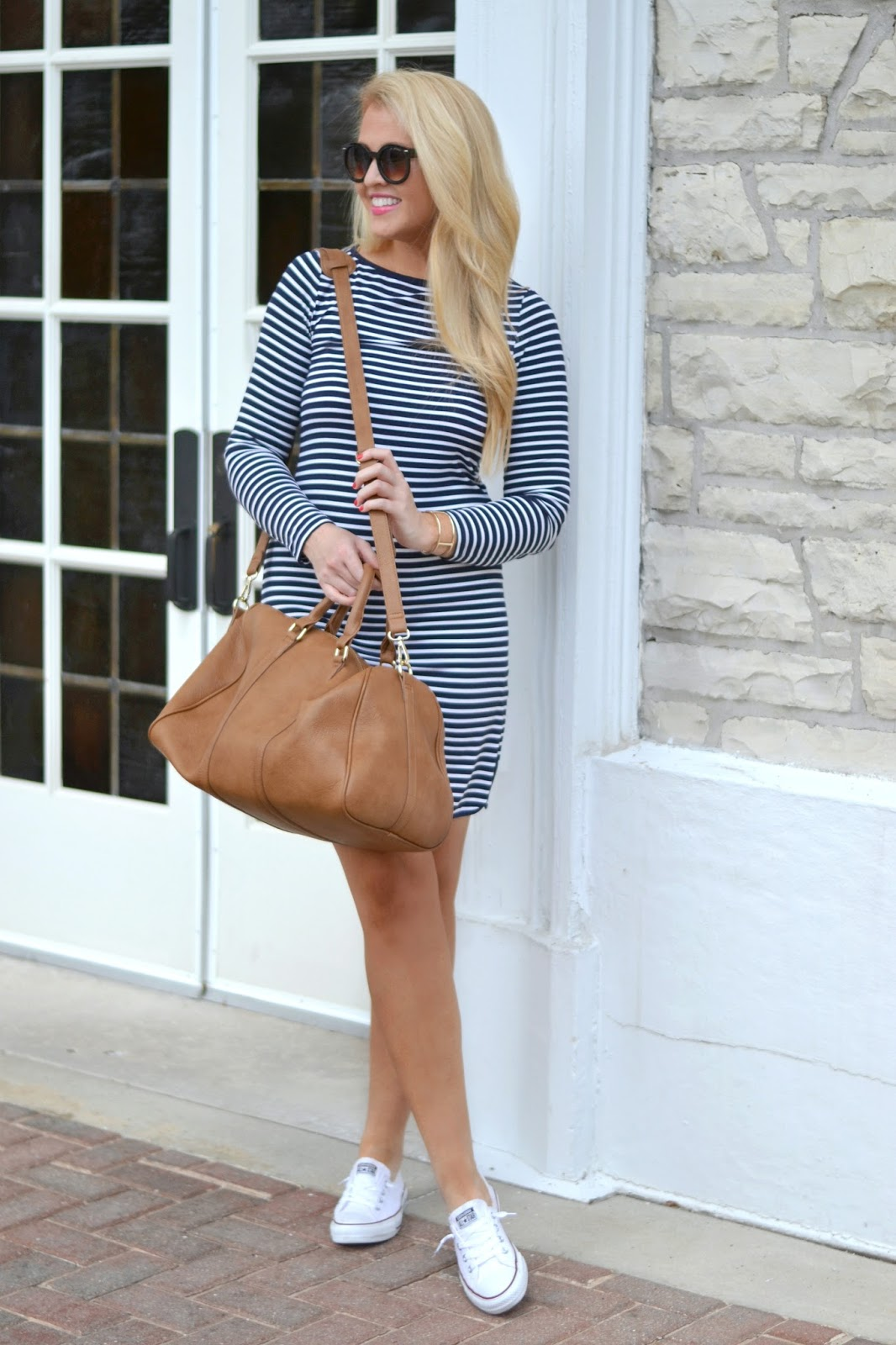 navy and white stripe dress with converse sneakers