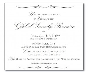You Are Cordially Invited to Celebrate the Global Family Reunion