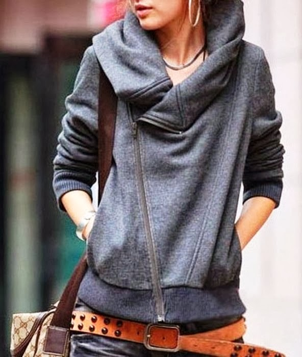 Stylish grey cardigan with handbag and adorable brown belt