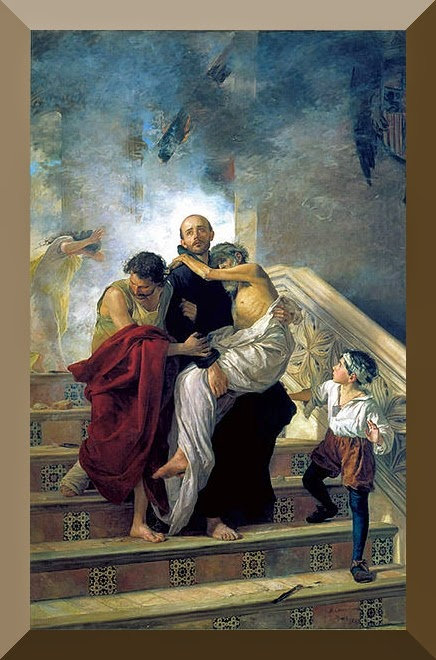 """St. John of God saving the Sick from a Fire at the Royal Hospital"" by Manuel Gómez-Moreno González"