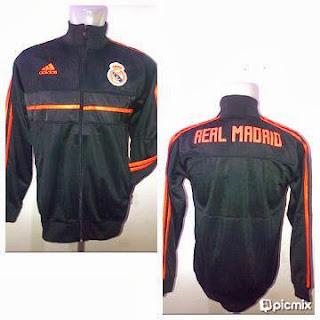 Jaket Bola Real Madrid Hitam List Orange