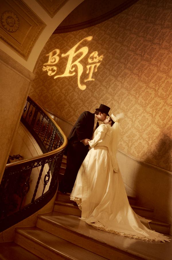 steampunk wedding, steampunk bride and groom