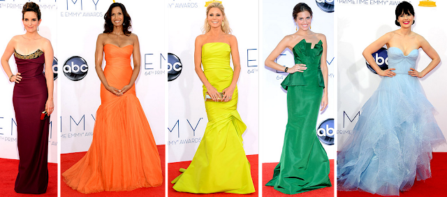 2012 Emmy Awards, Emmys fashion, Tina Fey, Padma Lakshmi, Julie Bowen, Allison Williams, Zooey Deschanel