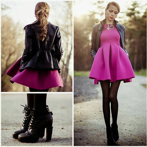 radiant-orchid-skater-skirt-dress