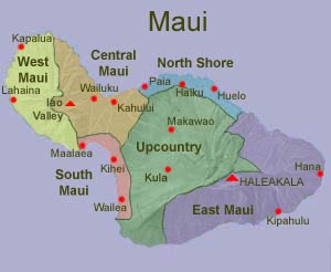 Map of Maui and its regions