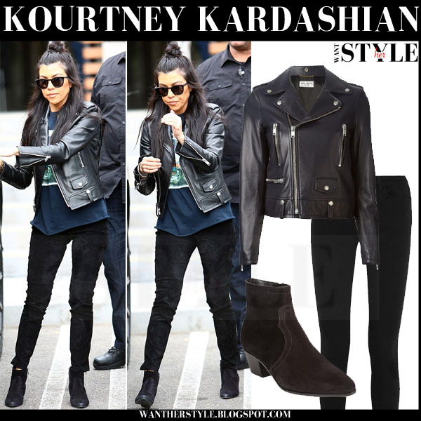 Kourtney Kardashian in black saint laurent perfecto leather jacket and suede boots saint laurent rock zip what she wore