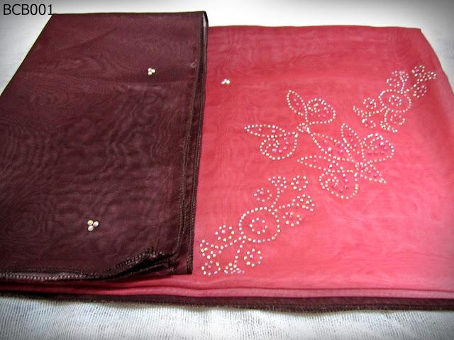 Tudung Bawal 3 Tone Crown Batu Pink Belacan