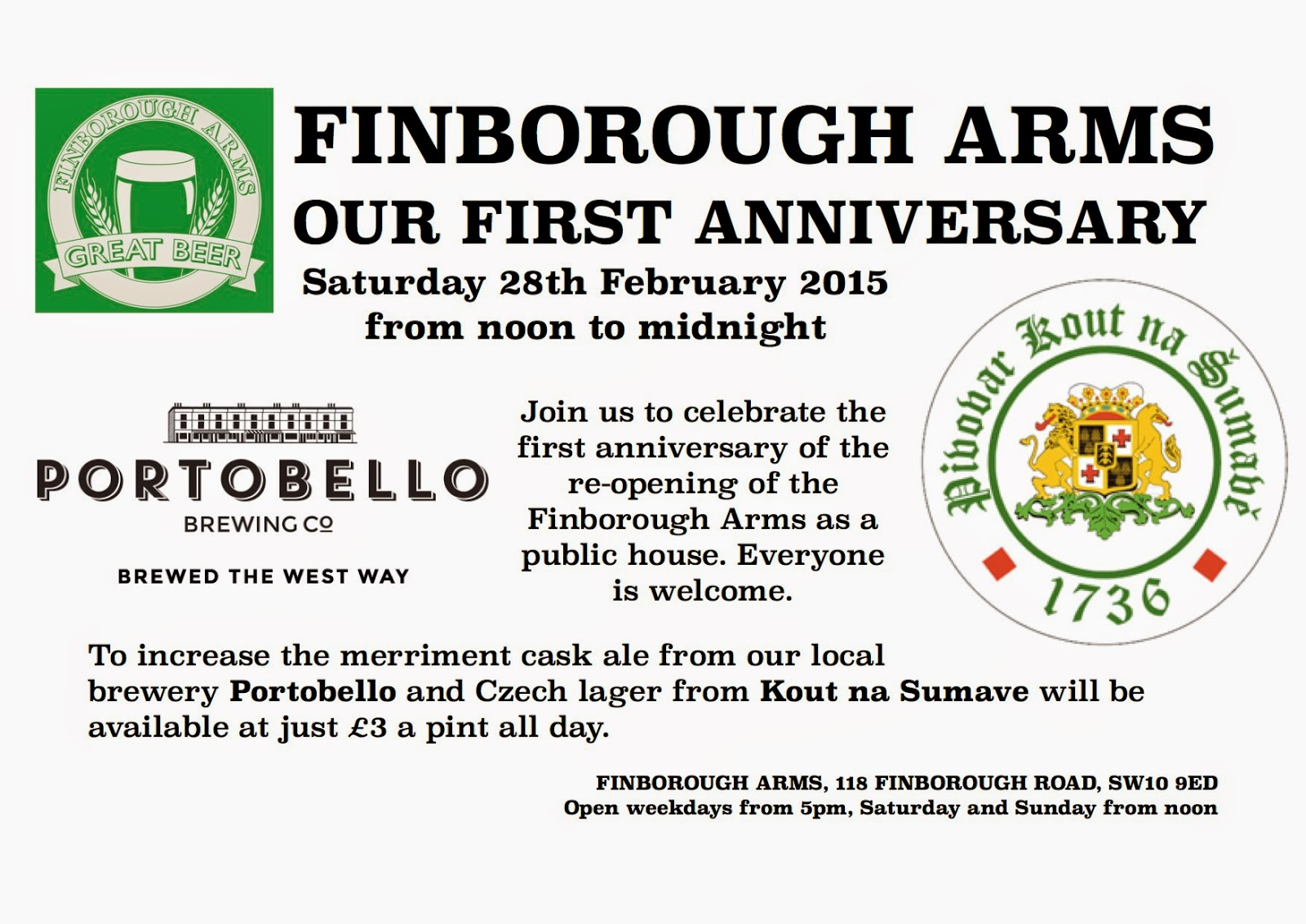 Finborough Arms - our first anniversary - Saturday 28th February