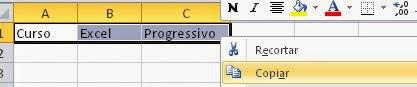 Copiando de uma planilha do Excel