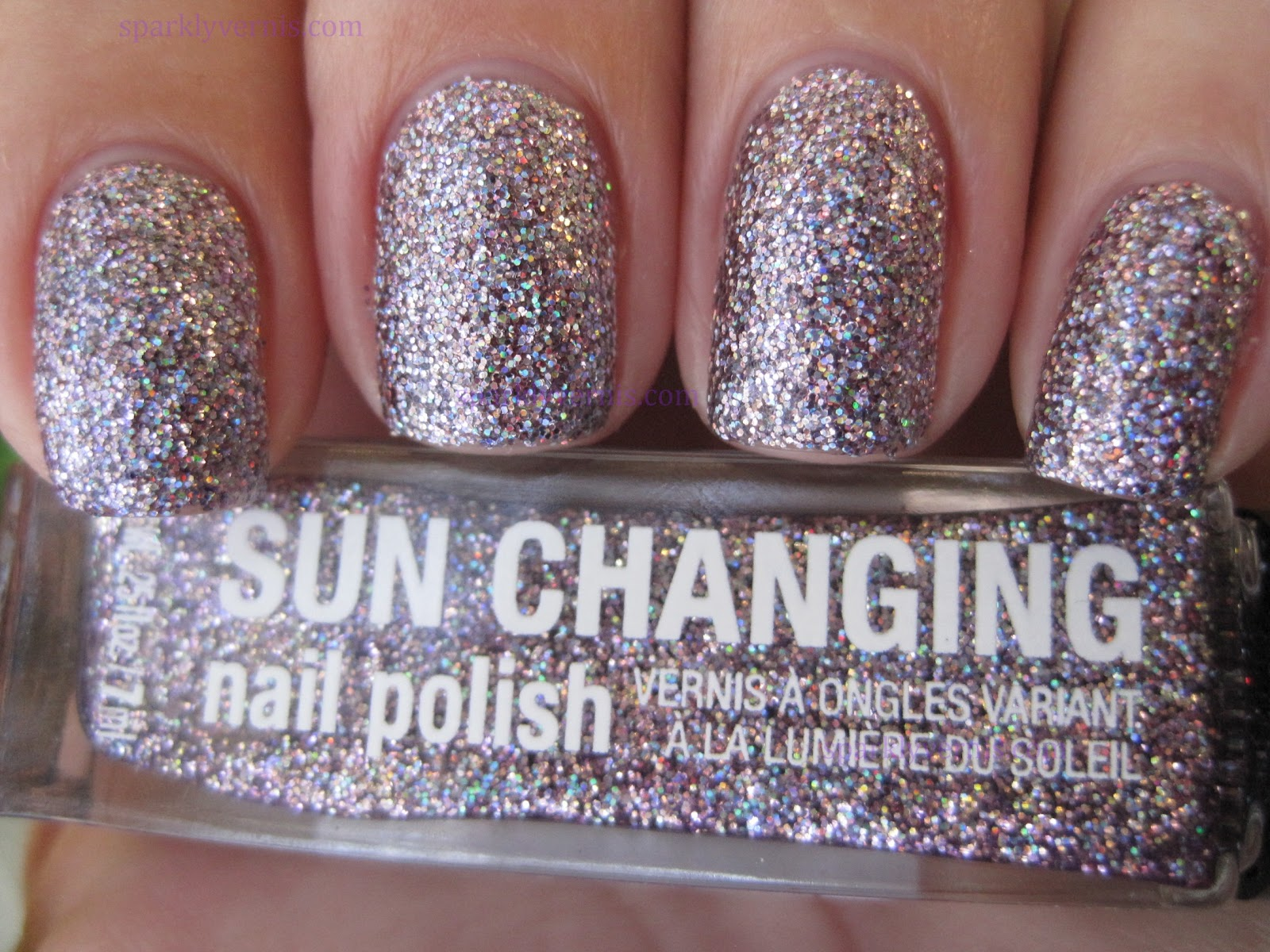 sparkly vernis claire 39 s sun sation is purple by day silver by night. Black Bedroom Furniture Sets. Home Design Ideas