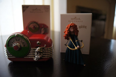 The Hallmark Countdown Clock ornament and Merida ornament from the movie Brave
