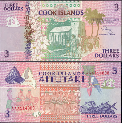 Isole Cook 3 Dollars 1992 P# 7a