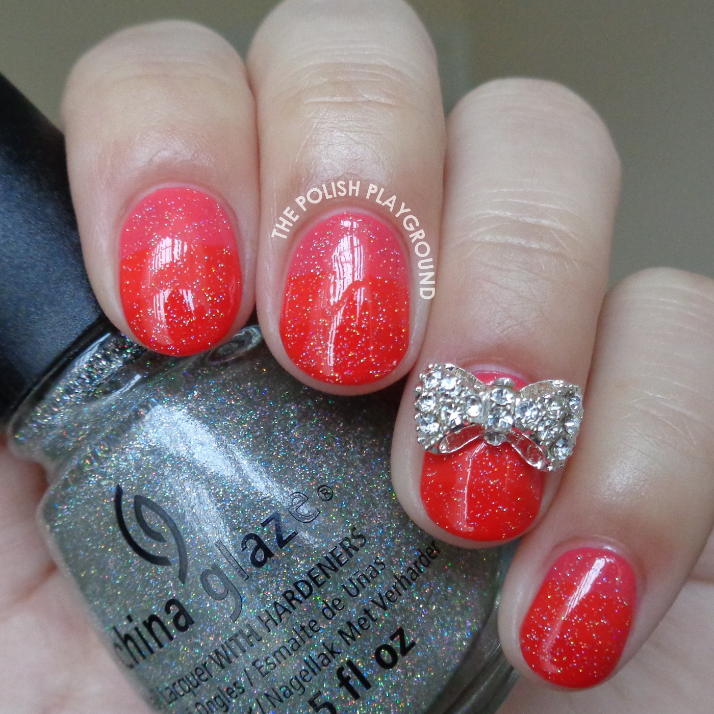 Monochromatic Pinky Red Stripe Gradient with Bow Stud Accent Nail Art