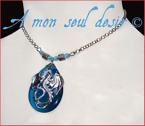 Collier médiéval fantasy Dragon bleu renaissance blue necklace Dragon d'Azur