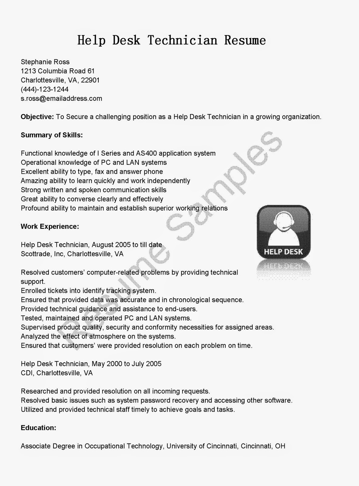 Resume Samples Help Desk Technician Resume Sample