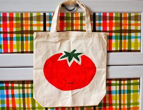freezer paper stenciled tomato design canvas bag