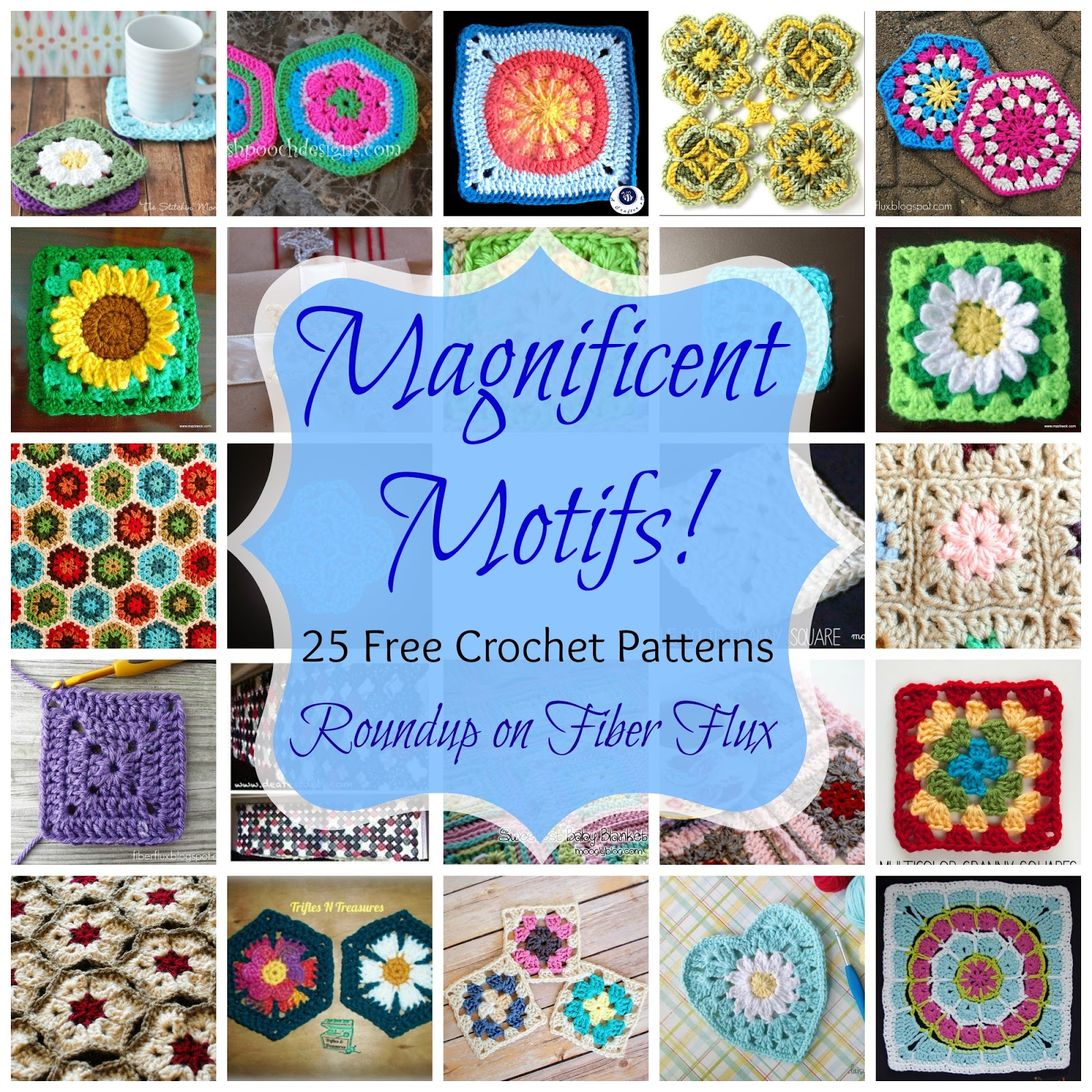 Crochet Patterns For Motifs : Fiber Flux: Magnificent Motifs! 25 Free Crochet Patterns