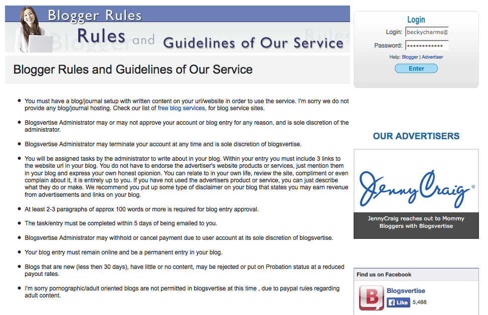 Blogger Rules and Guidelines of Our Service / Blogsvertise 5-12-2014 by BeckyCharms