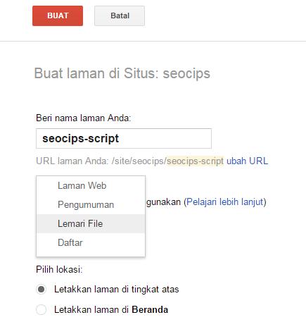 Setting laman baru google site