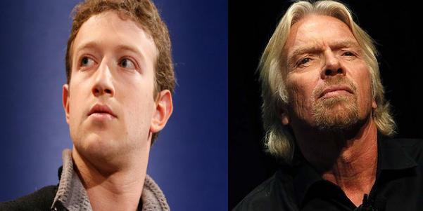 Mark Zuckerberg y Richard Branson