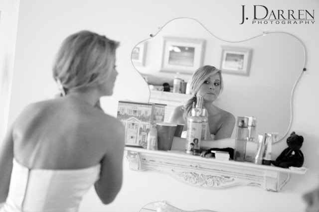 photo of the Bride getting ready for her beach wedding