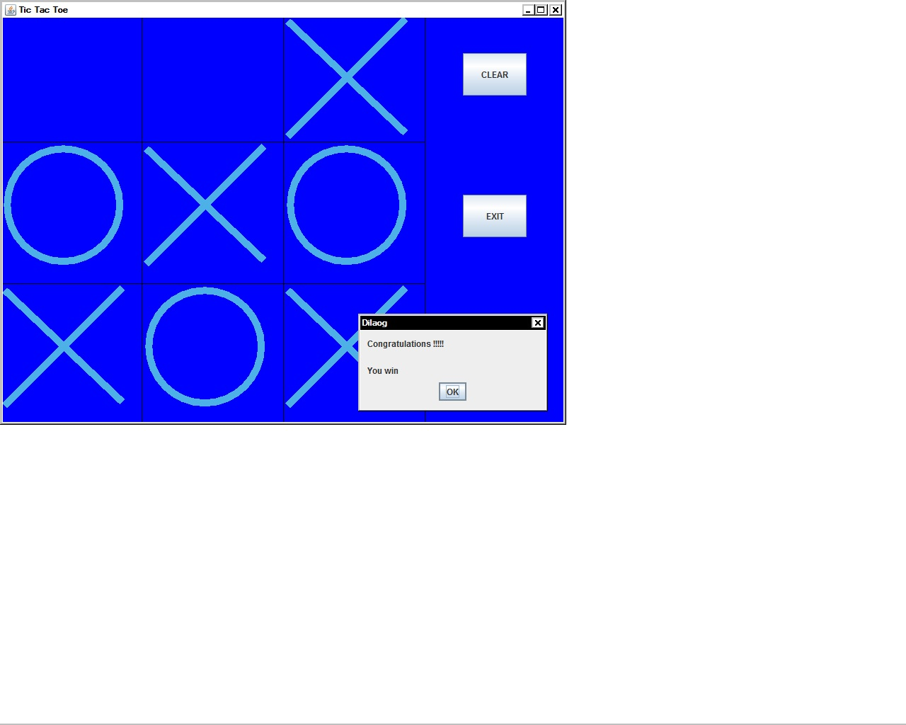 tic tac toe java code display message output image