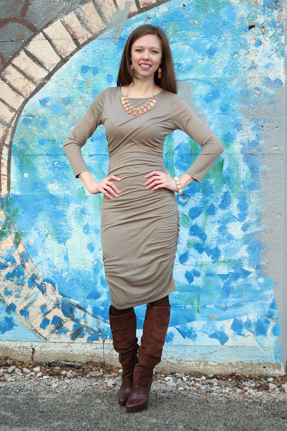 StyleSidebar - Ruched Sweater Dress