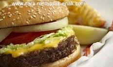 resep praktis dan mudah membuat burger daging sapi (beef burger) / hamburger spesial enak, lezat