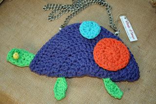 bolso tortuga algodón, metal, cuero y madera