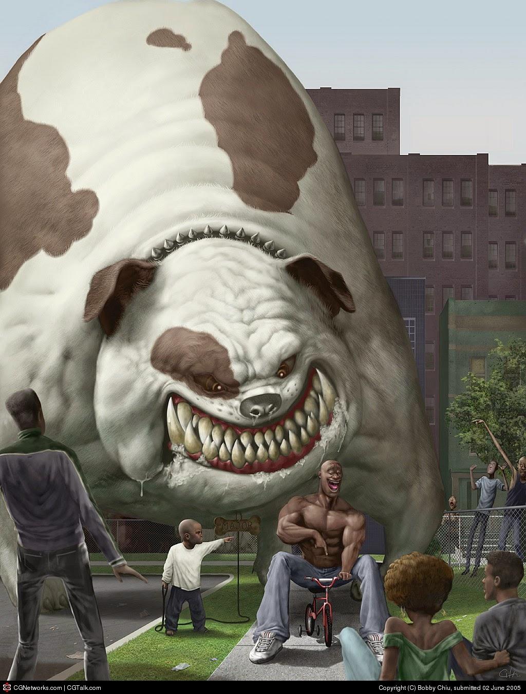 illustration de Bobby Chiu représentant un petit garçon et un très gros chien
