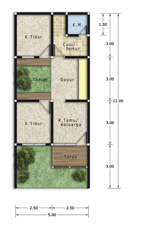 rancangan denah rumah tanah 72 yang bagus