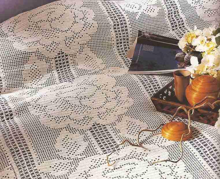 """Cubrecama """"Rosas de ensueño"""" a Crochet"""