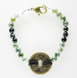 Moss Agate with Coins Bracelet