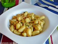 Gnochis con gorgonzola y pera
