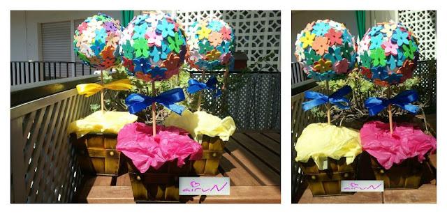 centros mesa manualidades flores colores