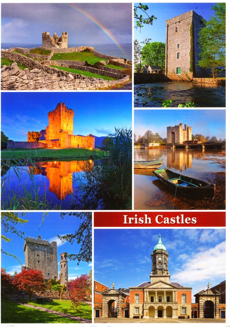 postcard, ireland, thoor ballylee, bunratty castle, blarney castle, ross castle
