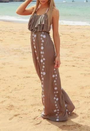 Camel Color Maxi With White Printed Flower