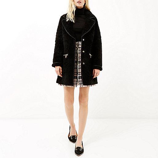 river island black fur coat, black borg fur coat,