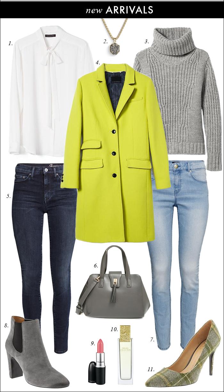 chunky sweater, turtleneck, banana republic, kendra scott, plaid, pumps, skinny jeans