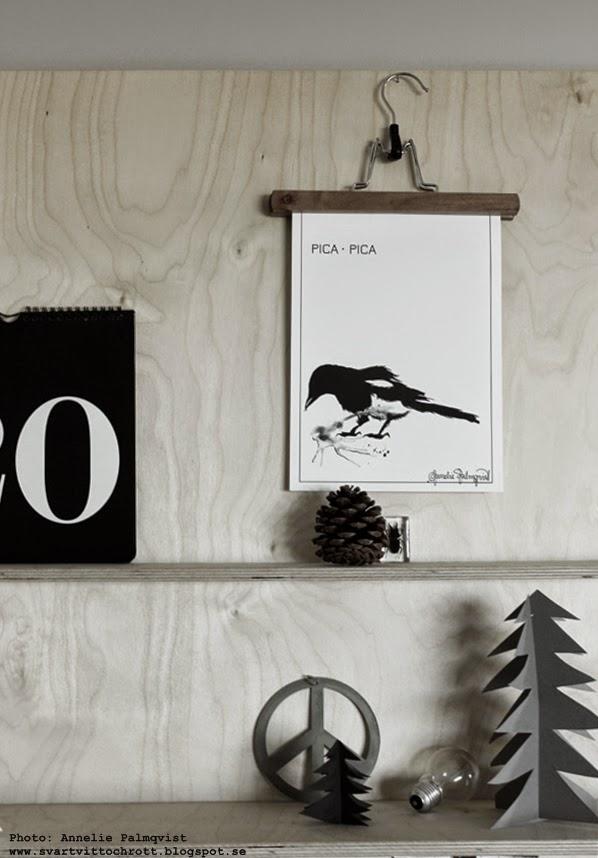 konsttryck, artprint, art, konst, tavla, tavlor, svarta och vita tavlor, svartvitt, svart, vitt, vit, poster, posters, prints, annelie palmqvist, skata, granar av papper, diy