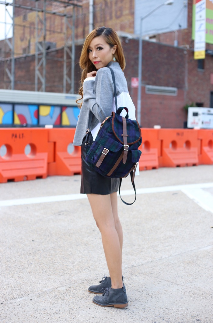 renamed layered sweater, black leather skirt, hush puppies Cyra Catelyn boots, Herschel supply dawson backpack, kendra scott dee earrings, gorjana crescent plate necklace, back to school outfit, comfy and stylish outfit, fashion blog, nyc fashion blog, how to