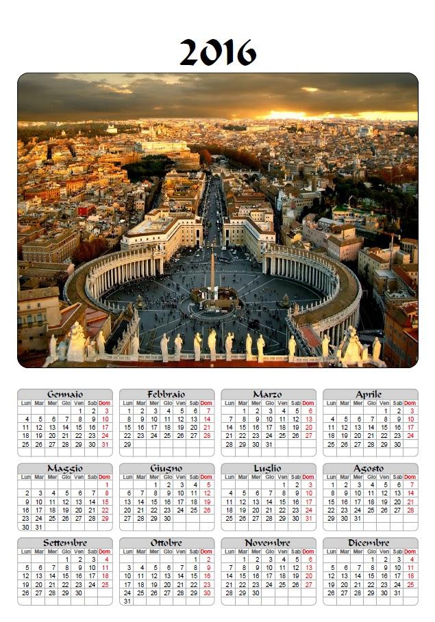 calendario 2016 - mensile - annuale - giubileo