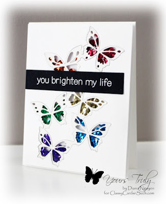 Diana Nguyen, shaker, Fairyland butterflies, memory box, card, lawn fawn