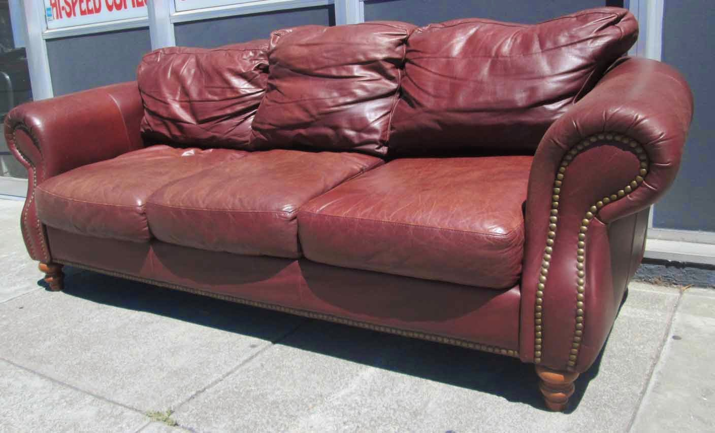 Uhuru furniture collectibles for Brown leather couch with studs