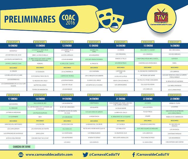 calendario preliminares coac 2016